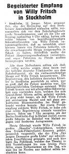 Bericht im Film Kurier 1934 über den Besuch von Willy Fritsch in Schweden.