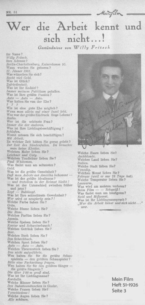Steckbrief des Schauspielers Willy Fritsch im Magazin Mein Film