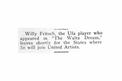 """""""Willy Fritsch Joins United Artists"""". Artikel in der US-Tageszeitung """"Film Daily"""" vom 12.12.1926"""