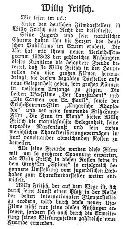 """Willy Fritsch mit internationalem Format. Artikel im """"Film-Kurier"""" Nr. 167 vom 14.07.1928"""