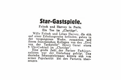 """""""Willy Fritsch in Paris"""".Artikel im """"Film-Kurier"""" Nr. 250 vom 22.10.1930"""