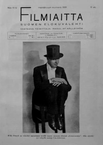 """Cover des finnischen Magazins """"Filmiaitta"""", 1931"""
