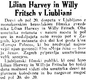 """""""Willy Fritsch & Lilian Harvey in Ljubljana"""".Artikel in der slowenischen Tageszeitung """"Jutro"""" vom 01.02.1931.(Quelle: dLib.si)"""