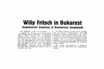 Artikel: Willy Fritsch in Bukarest. Film-Kurier Nr. 271, 1934