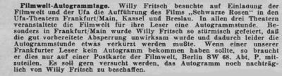 Zeitungsausschnitt: Abbruch der Autogrammstunde in Frankfurt.