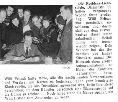 Zeitungsausschnitt: Leserin verschiebt Reise für Blumenspende an Willy Fritsch.