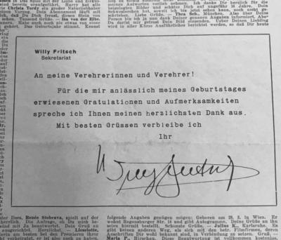 Willy Fritsch dankt für die Glückwünsche