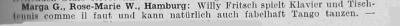 Zeitungsausschnitt: Willy Fritsch kann fabelhaft Tango tanzen.