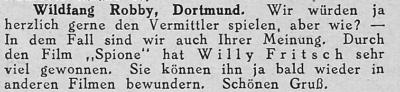 """Zeitungsausschnitt: Willy Fritsch in Fritz Lang's """"Spione""""."""