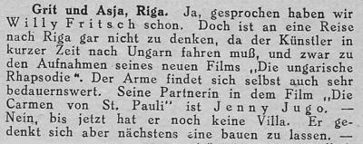 Zeitungsausschnitt: Willy Fritsch, der Globetrotter.