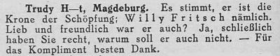 Zeitungsausschnitt: Willy Fritsch ist die Krone der Schöpfung!