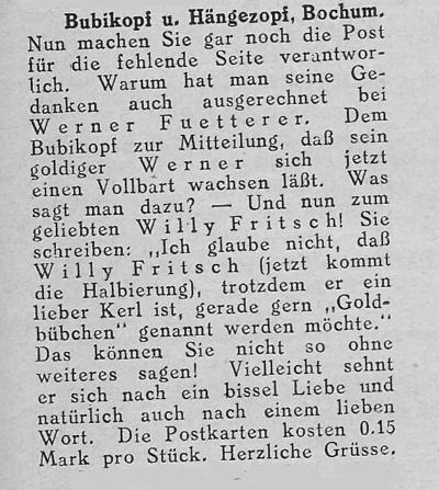 """Zeitungsausschnitt: Willy Fritsch möchte nicht """"Goldbübchen"""" genannt werden."""