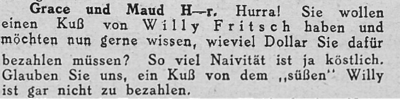 Zeitungsausschnitt: Ein Kuss von Willy Fritsch.