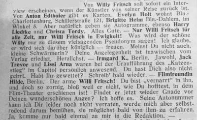 Zeitungsausschnitt: Nur Willy Fritsch in Ewigkeit