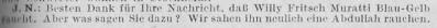 Zeitungsausschnitt: Was raucht eigentlich Willy Fritsch?