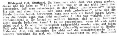 Zeitungsausschnitt: Schule schwänzen für Willy Fritsch.